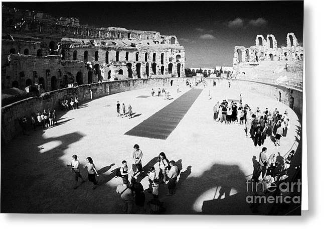 African Heritage Greeting Cards - Tourists On The Arena Floor Of The Old Roman Colloseum At El Jem Tunisia Greeting Card by Joe Fox