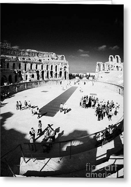 African Heritage Greeting Cards - Tourists On The Arena Floor Of The Old Roman Colloseum At El Jem Tunisia Vertical Greeting Card by Joe Fox