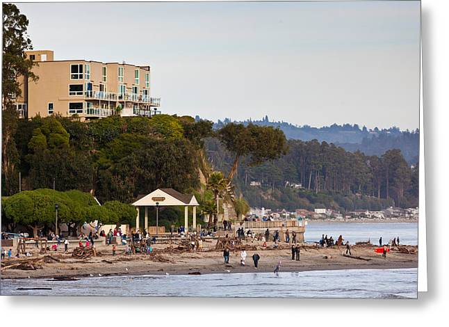 California Ocean Photography Greeting Cards - Tourists On The Beach, Capitola, Santa Greeting Card by Panoramic Images