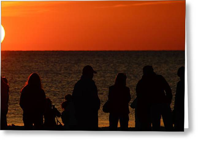 Reflections Of Sky In Water Greeting Cards - Tourists on the beach Greeting Card by Celso Diniz