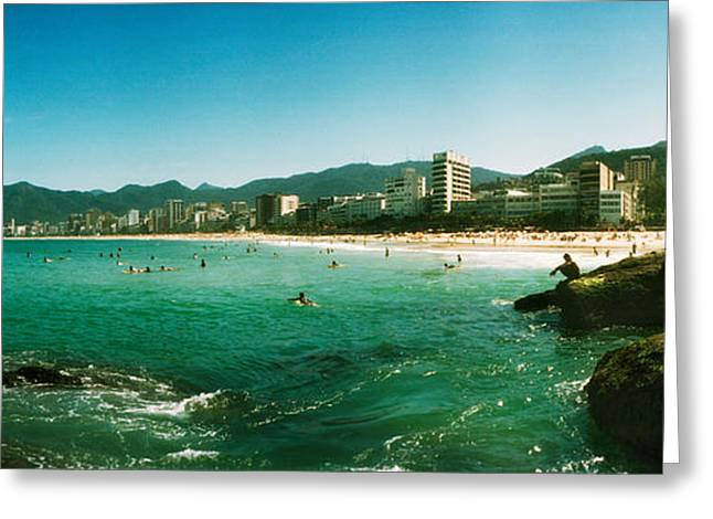 Beach Photography Greeting Cards - Tourists On The Beach, Ipanema Beach Greeting Card by Panoramic Images
