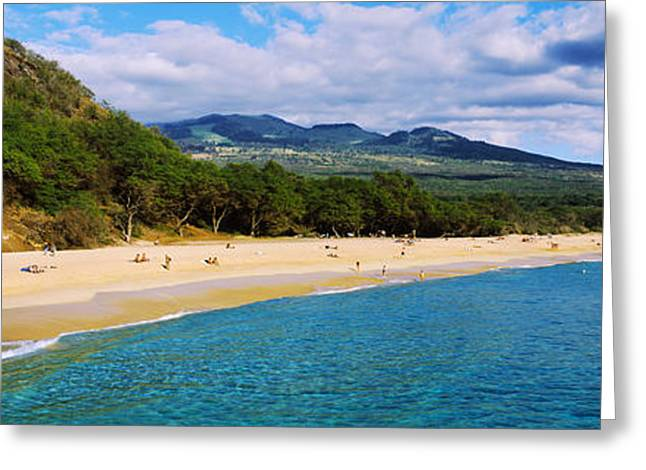Beach Photography Greeting Cards - Tourists On The Beach, Makena Beach Greeting Card by Panoramic Images