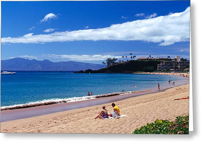Urban Images Greeting Cards - Tourists On The Beach, Maui, Hawaii, Usa Greeting Card by Panoramic Images