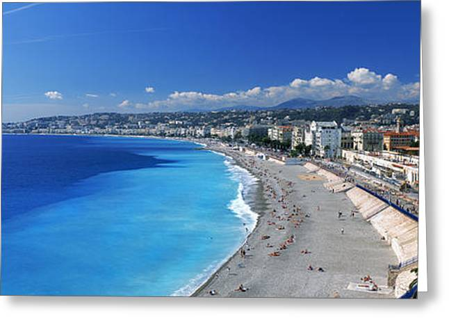 Incidental People Greeting Cards - Tourists On The Beach, Nice, Promenade Greeting Card by Panoramic Images