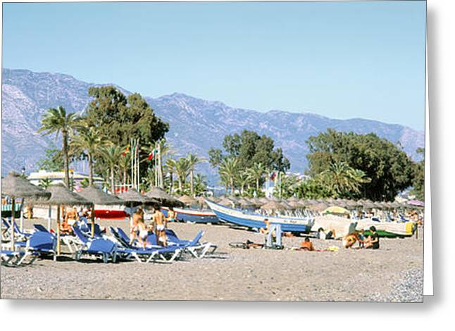 Mountains Of Sand Greeting Cards - Tourists On The Beach, San Pedro, Costa Greeting Card by Panoramic Images