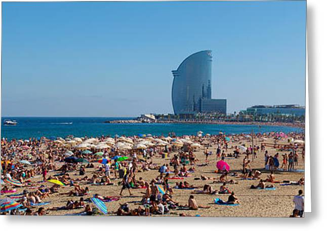 Vela Greeting Cards - Tourists On The Beach With W Barcelona Greeting Card by Panoramic Images