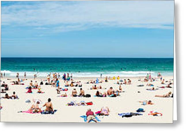 Beach Photography Greeting Cards - Tourists On The Bondi Beach, Sydney Greeting Card by Panoramic Images