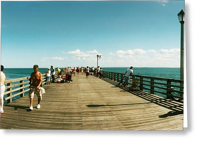 Coney Island Greeting Cards - Tourists On The Coney Island Pier Greeting Card by Panoramic Images