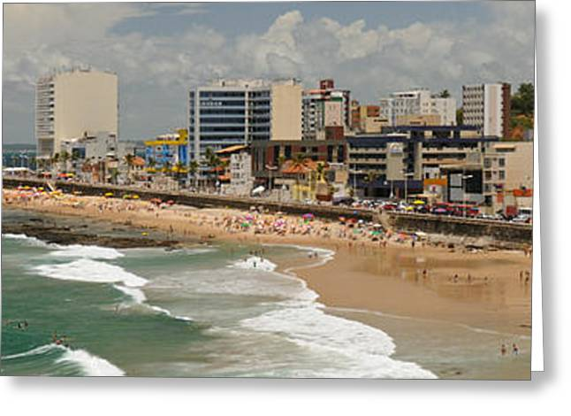 Surf City Greeting Cards - Tourists On The Porto Da Barra Beach Greeting Card by Panoramic Images
