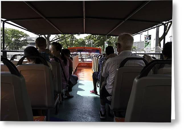 Singapore Greeting Cards - Tourists on the sight-seeing bus run by the Hippo company in Singapore Greeting Card by Ashish Agarwal