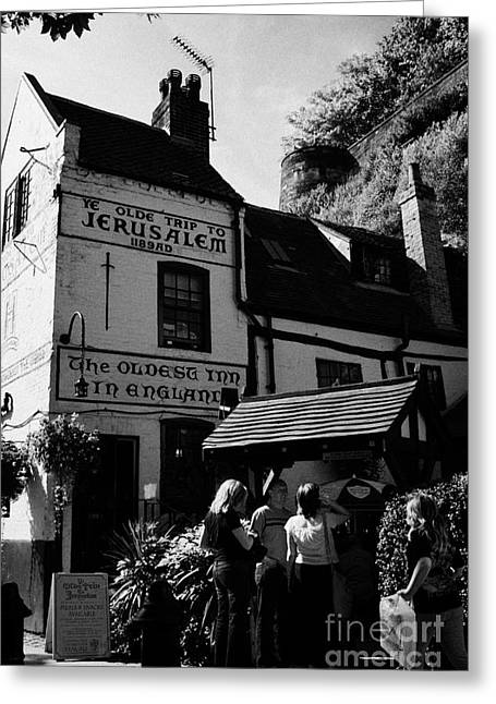 Nottingham Greeting Cards - Tourists Outside Ye Olde Trip To Jerusalem Most Ancient Inn In England Pub Castle Road Nottingham En Greeting Card by Joe Fox