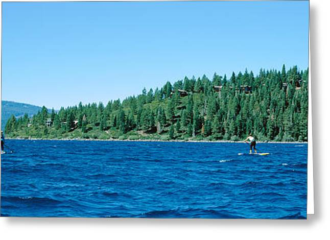 Extreme Sport Greeting Cards - Tourists Paddle Boarding In A Lake Greeting Card by Panoramic Images