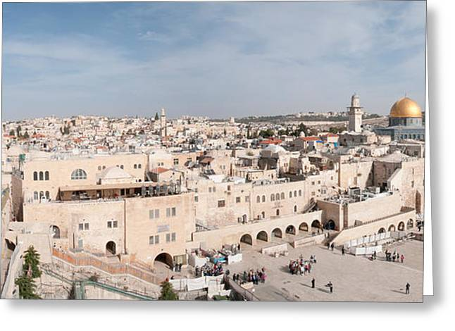 Town Square Greeting Cards - Tourists Praying At A Wall, Wailing Greeting Card by Panoramic Images