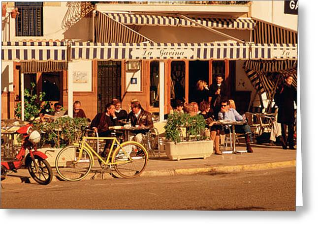 Large Group Of Objects Greeting Cards - Tourists Sitting In A Cafe, Sitges Greeting Card by Panoramic Images