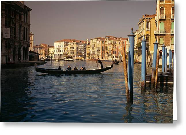 Gondolier Photographs Greeting Cards - Tourists Sitting In A Gondola, Grand Greeting Card by Panoramic Images