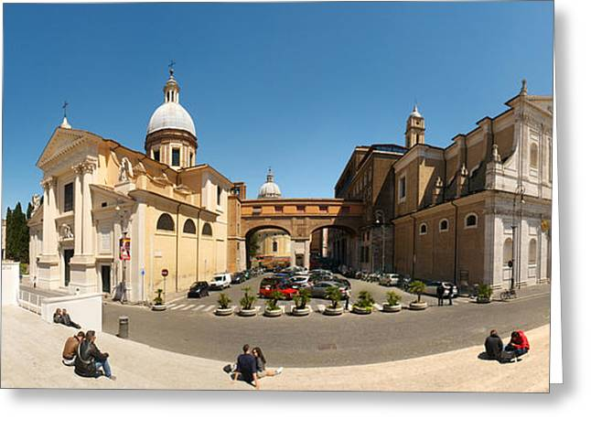 Town Square Greeting Cards - Tourists Sitting On Steps At Piazza Greeting Card by Panoramic Images