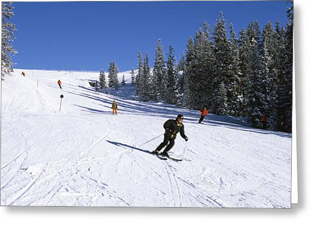 Extreme Sport Greeting Cards - Tourists Skiing, Kitzbuhel, Westendorf Greeting Card by Panoramic Images