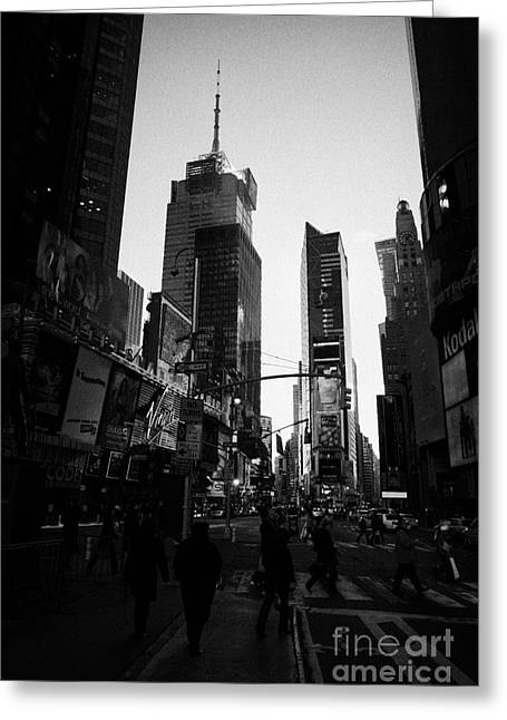 Manhatan Greeting Cards - Tourists Walk Across Cross Walk Times Square In Daytime New York City Greeting Card by Joe Fox