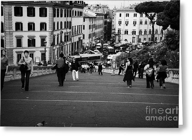 Michaelangelo Greeting Cards - tourists walk on the Cordonata steps Michelangelo designed teps leading up to the Campidoglio looking down towards Piazza Aracoeli Rome Lazio Italy Greeting Card by Joe Fox