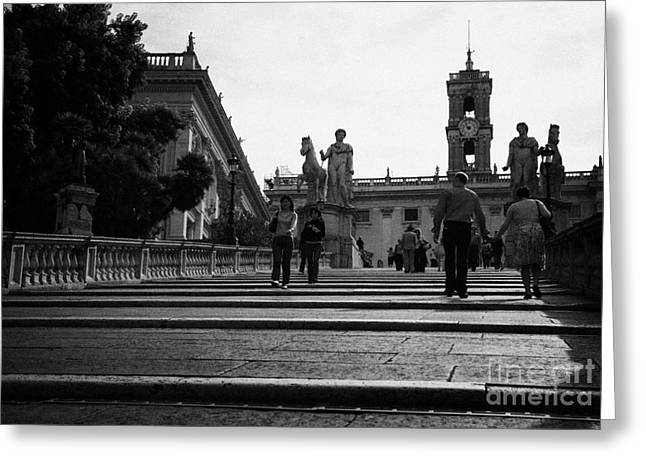 Michaelangelo Greeting Cards - tourists walk on the Cordonata steps Michelangelo designed teps leading up to the Campidoglio Rome Lazio Italy Greeting Card by Joe Fox