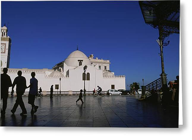 Tourists Walking In Front Of A Mosque Greeting Card by Panoramic Images
