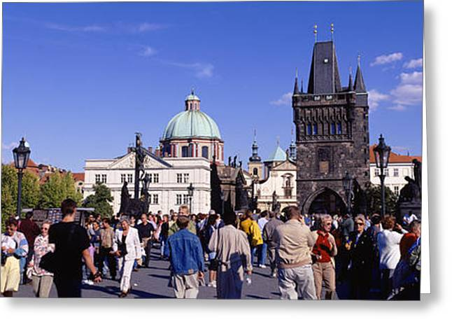 Art Of Building Greeting Cards - Tourists Walking In Front Greeting Card by Panoramic Images