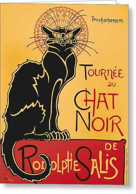 Rochvanh Greeting Cards - Tournee du Chat Noir - Black Cat Tour Greeting Card by RochVanh