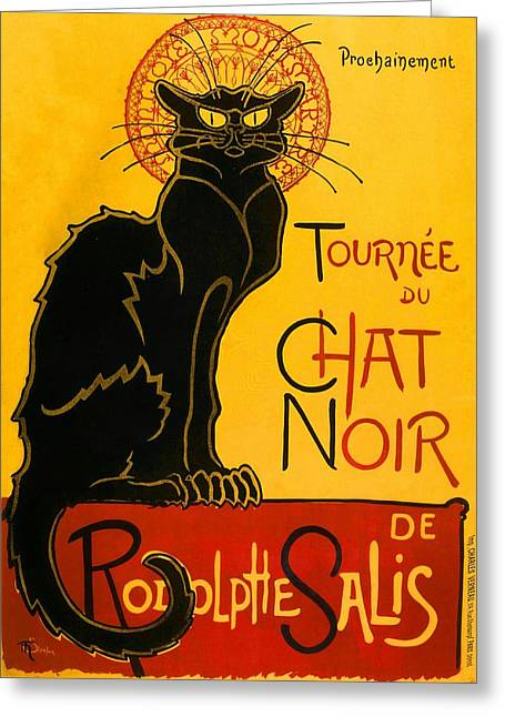 Paris Black Cats Greeting Cards - Tournee Du Chat Noir Greeting Card by Theophile Steinlen