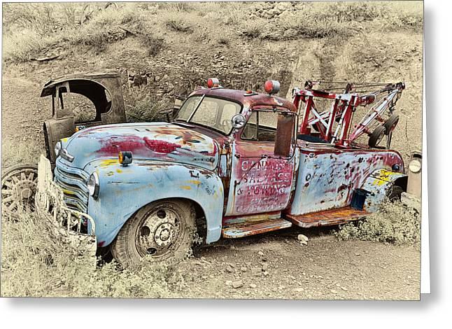 Tow Truck Greeting Card by Robert Jensen