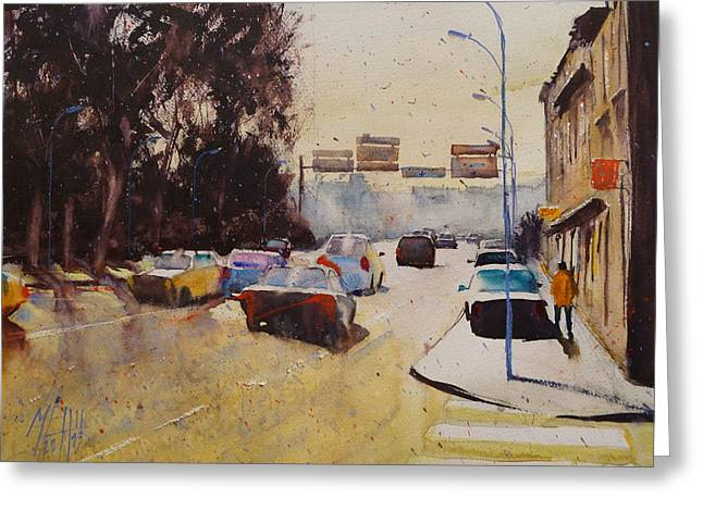 Lorient Greeting Cards - Toward St Christophe Bridge Greeting Card by Andre MEHU