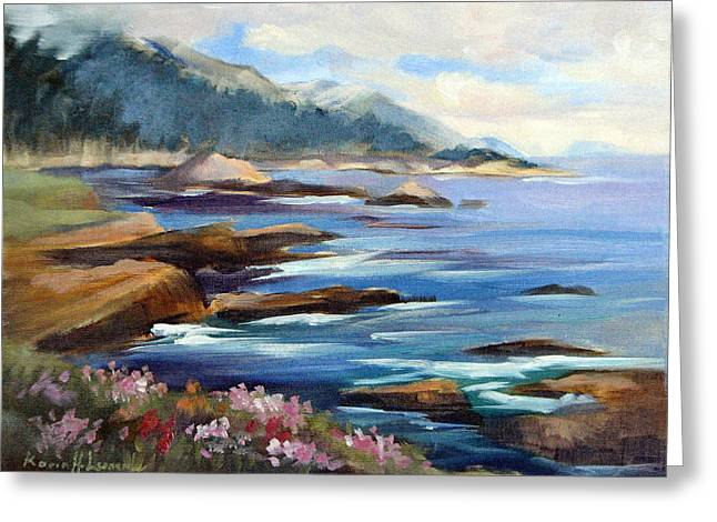 China Cove Greeting Cards - Towards China Cove Pt. Lobos Greeting Card by Karin  Leonard