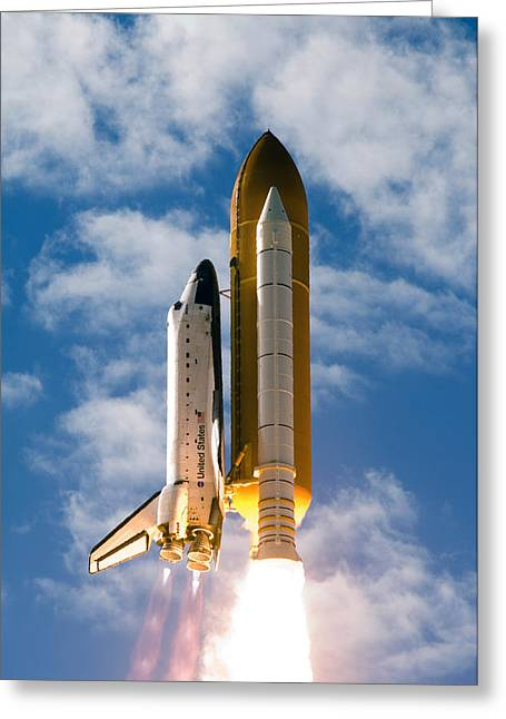 Space Shuttle Photographs Greeting Cards - Towards Heaven Greeting Card by Ricky Barnard