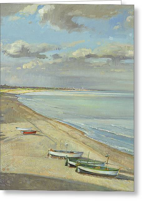 C20th Greeting Cards - Towards Southwold Oil On Canvas Greeting Card by Timothy Easton