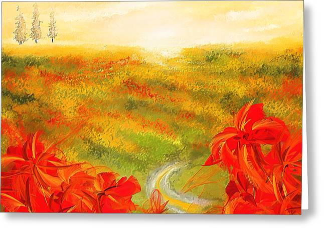 Golds Reds And Greens Greeting Cards - Towards The Brightness - Fields Of Poppies Painting Greeting Card by Lourry Legarde
