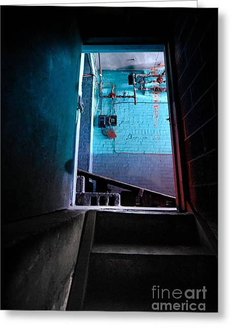 Basement Photographs Greeting Cards - Towards the Glow Greeting Card by Amy Cicconi