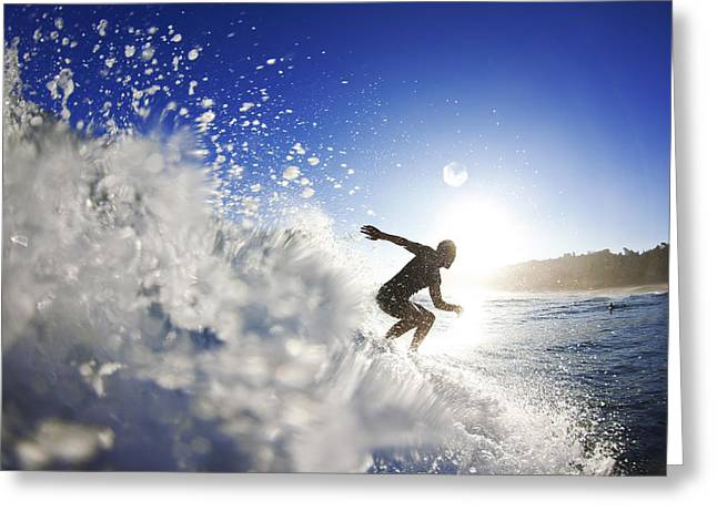 Surf Silhouette Greeting Cards - Towards the light Greeting Card by Sean Davey