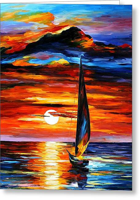 Popular Art Greeting Cards - Towards The Sun - PALETTE KNIFE Oil Painting On Canvas By Leonid Afremov Greeting Card by Leonid Afremov