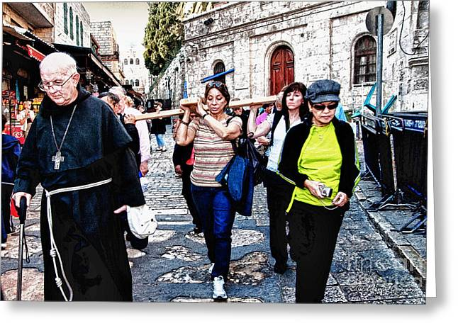 Spirtuality Greeting Cards - Towards the Via Dolorosa  Jerusalem Greeting Card by Elena Comens