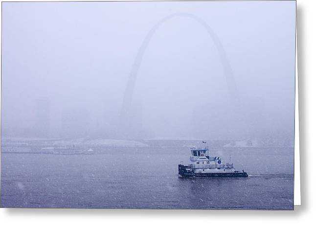 Jefferson National Expansion Memorial Greeting Cards - Towboat Working in the Snow St Louis Greeting Card by Garry McMichael