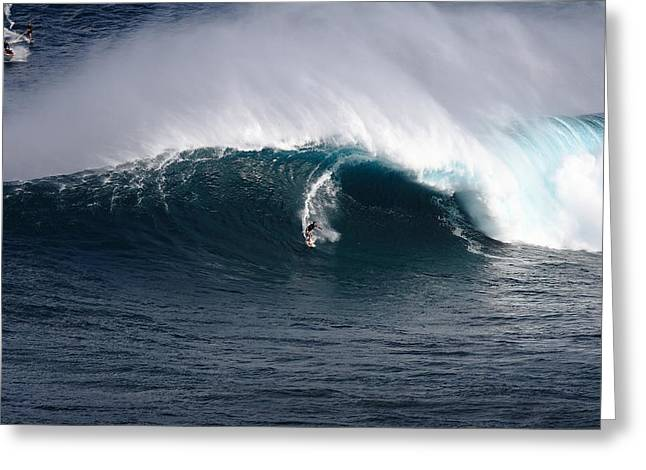 Surfing Photos Greeting Cards - Towed in at Jaws Greeting Card by Richard Cheski