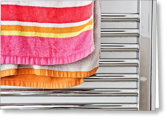 Domestic Bathroom Greeting Cards - Towel rail Greeting Card by Tom Gowanlock
