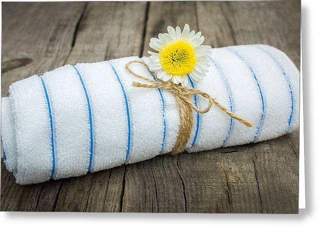 Treatment Greeting Cards - Towel With a Flower Greeting Card by Aged Pixel