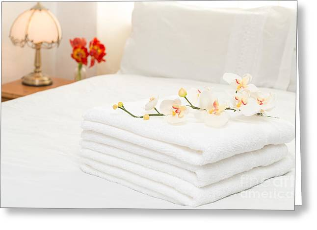 Laundering Greeting Cards - Towels On Bed Greeting Card by Amanda And Christopher Elwell