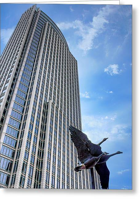 Stainless Steel Greeting Cards - Tower and Geese Greeting Card by Nikolyn McDonald