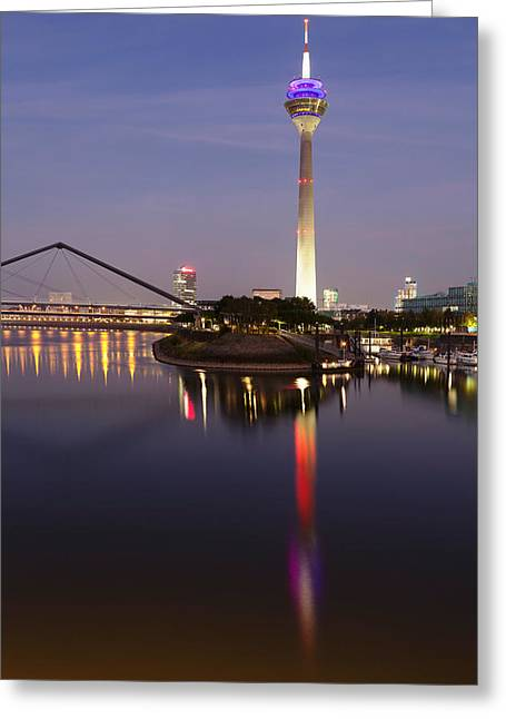 Communications Tower Greeting Cards - Tower At A Harbor, Rheinturm Tower Greeting Card by Panoramic Images