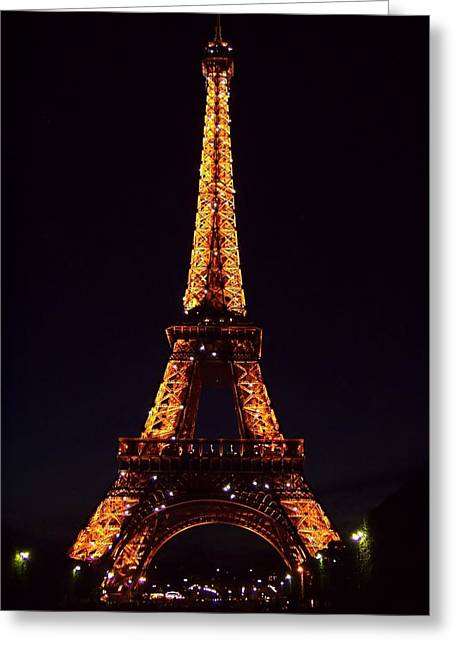 Paris Night Scenes With Lights Greeting Cards - Tower at Night Greeting Card by Jenny Hudson