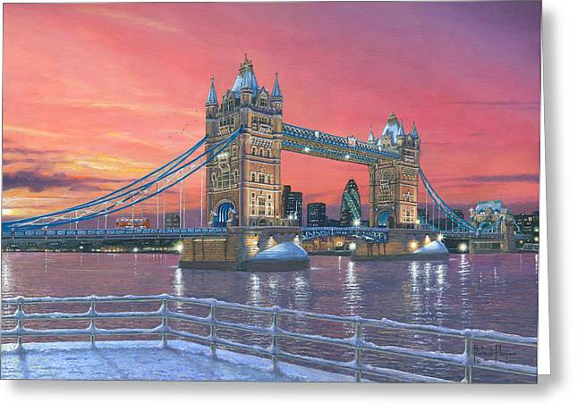 Tower Bridge After The Snow Greeting Card by Richard Harpum