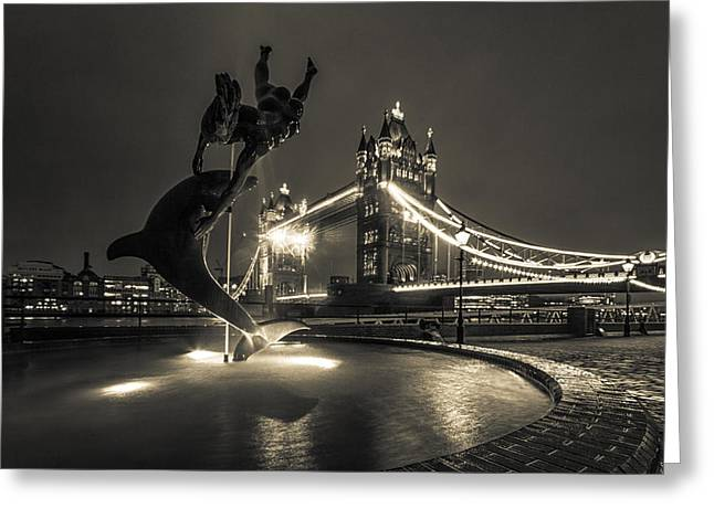 Dolphin Greeting Cards - Tower Bridge and Dolphin Greeting Card by Ian Hufton