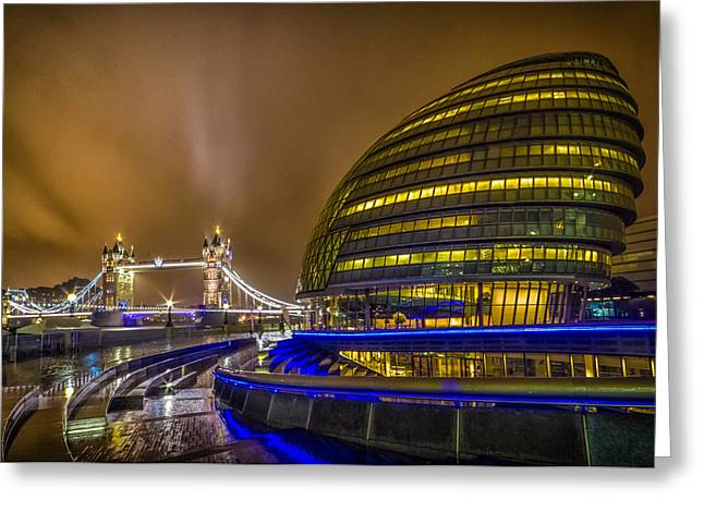Dolphin Greeting Cards - Tower Bridge and the Armadillo Greeting Card by Ian Hufton