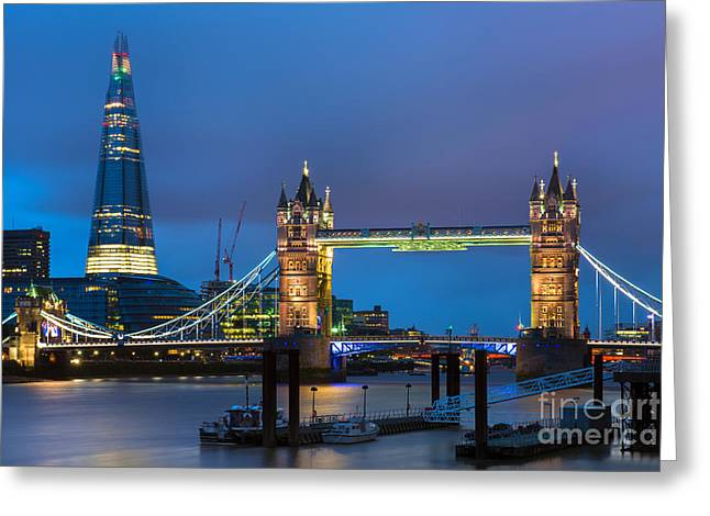 Tower Bridge And The Shard In London England Greeting Card by Bill Cobb